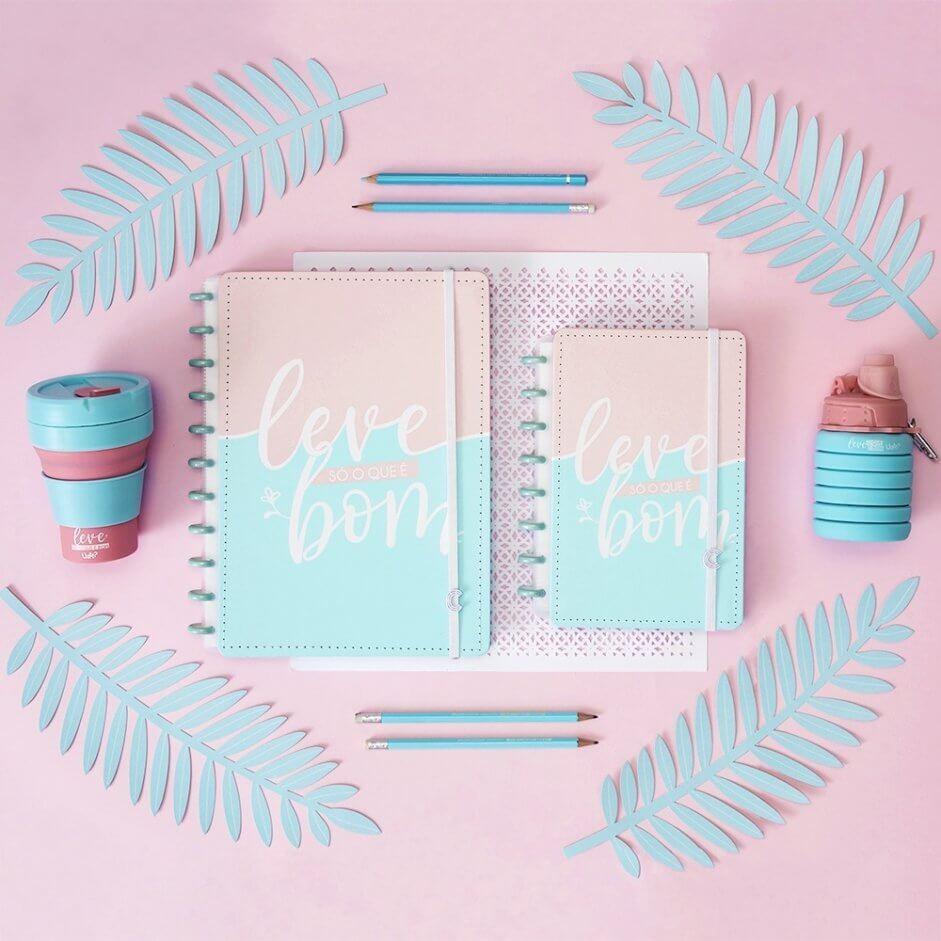 fundo rosa com uma garrada retrátil rosa e azul, um caderno pequeno rosa e azul escrito: leve o que é bom, um planner e um copo térmico.